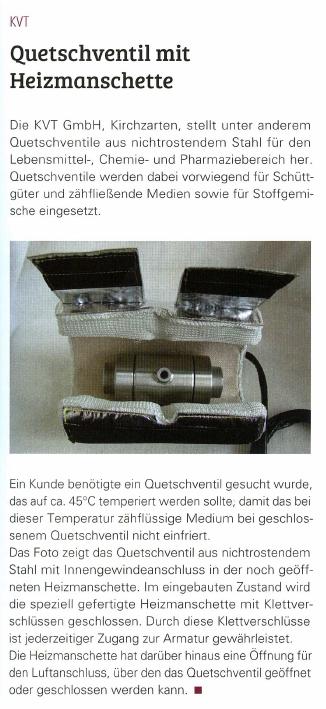 Quetschventil mit Heizmanschette (Industriearmaturen 2015)